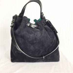 Zara Woman | Dark Navy Suede Bucket Bag